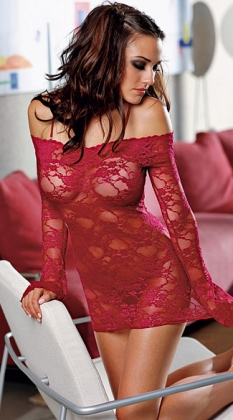 Red Bell Sleeved Chemise With Removable Straps
