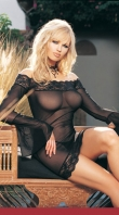 Black Off The Shoulder Dress With Bell Sleeves,Includes G-String
