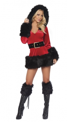 Black Plush Christmas Mini Dress