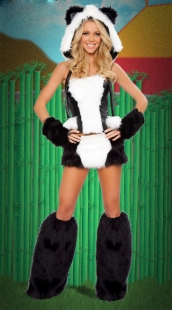 White Black Sexy Panda Costume