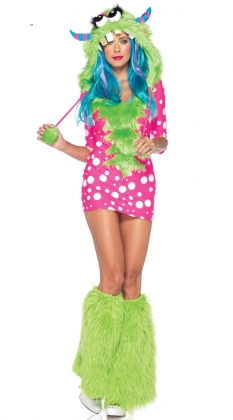 Pink Green Melody Monster Costume