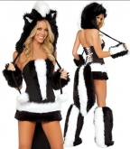 White Black Sexy Skunk Corset, Skirt And Tail