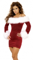 Sexy Santa Fur Trimmed Velvet Mini Dress
