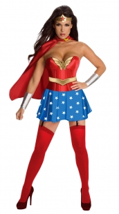 Red Wonder Woman Corset Costume And Blue Stars Skrit
