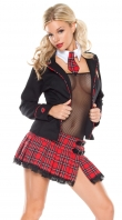 Black Mesh & Red Plaid Seductive School Girl Costume