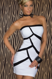 Black And White Splice Strapless Mini Dress