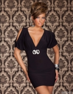 Black Sleeve V-Neck Sexy Dress