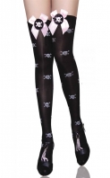 Skull Print-Applique Thigh Highs