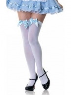 Light Blue Butterfly Opaque Thigh Highs with Satin Bow