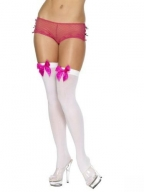 Rose Butterfly Opaque Thigh Highs with Satin Bow