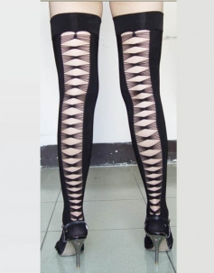 Black Opaque Thigh High With Criss Cross Back