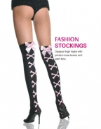 Opaque Crossbones Thigh Highs