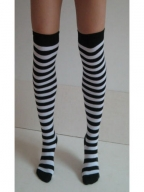 White Black Nylon Striped Stockings