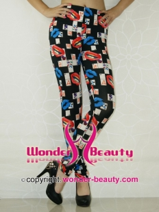 Sexy Lip Cards Print Winter Leggings