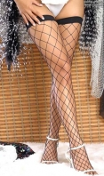 Black Large Fence Net Thigh Highs