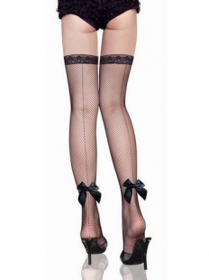 Black Back Ribbon Seam Fishnet