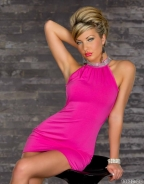 Elegant Noble Pink Sleeveless Dress