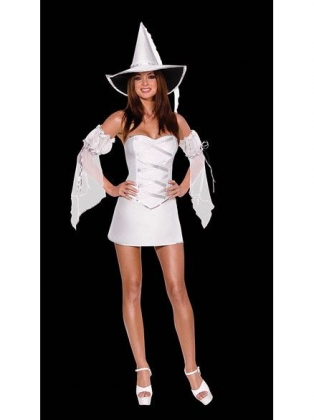 White Reversible Sexy Witch Halloween Costume