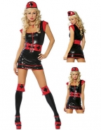 Black Leather Gothic Nurse Costume And Red Hat, Belt