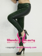 Green Splicing Leather Leggings