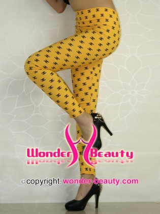 Yellow Chanel High Waisted Classic Leggings
