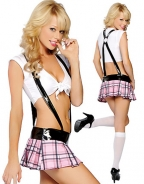 White & Pink Plaid High School Tease Costume