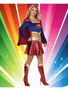 Blue And DarkRed Deluxe Supergirl Costume With Gold Belt