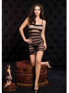 Black Striped Diamond Net Mini Dress