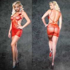 Red Industrial Net Mini Dress