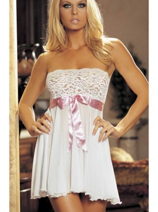 Pink Tie Front White Babydoll