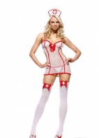 White Mesh Nightshift Nurse With Red Bowknot