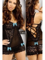 Black Lace Chemise With Blue Tie