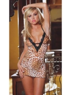 Leopard Grain Black Lace Babydoll
