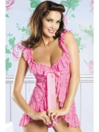 Pink Floral Lace Sleep Shirt And Thong
