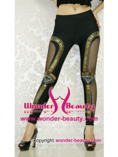 Black Punk Fashion Rivet Fishnet Leggings