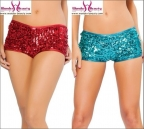 Red And Blue Sequin Booty Shorts