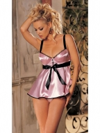 Glossy Brocade Babydoll with Ribbon Belt Pink Black