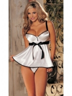 Glossy Brocade Babydoll With Ribbon Belt White