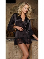 Black Chiffon And Lace Robe And Chemise Set