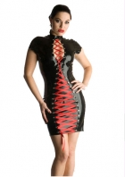 Black Appealing Leather Dress With Red Satin Lace-up Front