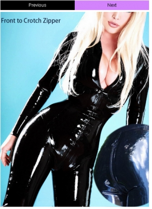 Black Front To Crotch Zipper Faux Leather Club Catsuit