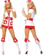 White Red Flirty Nurse Costume With Belt