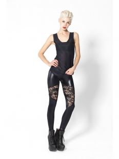 Lace Flower Hollow Out Faux Leather Leggings