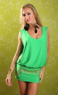 Grass Green Rivet Embellishment Clubwear