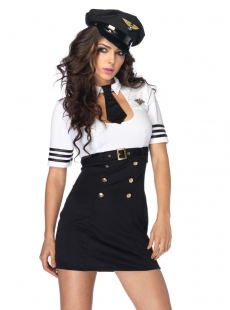 White And Black First Class Captain Costume