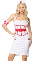 White On Call Nurse Costume With Red Belt
