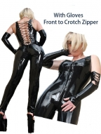 Black Lace Up Back Front To Crotch Zipper Catsuit