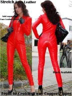 Red Long Sleeved Wet Look Cat Suit