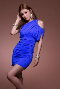 Blue One-shoulder Bead Strapless Dress