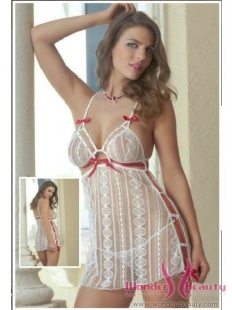 White Lace Red Luscious Babydoll Set